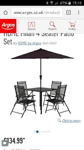 argos patiotable 4 reclining chairs parasol base cover