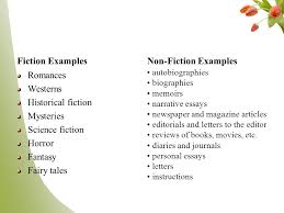 fiction vs non fiction english i fiction refers to literary 5 fiction examples