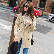 Little Khaki trench coat girl 2017 spring and autumn new ... - Qoo10