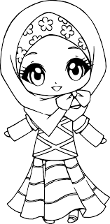 Small Picture Muslim Anime Girl Coloring Page Wecoloringpage