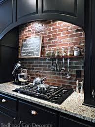 Black Granite Countertops With Tile Backsplash Amazing DIY Brick Backsplash SwoonWorthy Kitchens Kitchen Designs