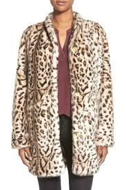 image of via spiga cheetah print faux fur coat