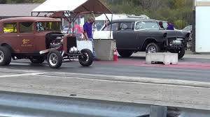 29 Ford 5 Window Coupe VS 56 Chevy Gasser 1/8 Mile Burnout & Drag ...