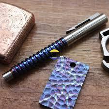 TITANER <b>Titanium</b> TC4 Ti <b>Spiral Penholder</b> Tactical Pen Outdoor ...