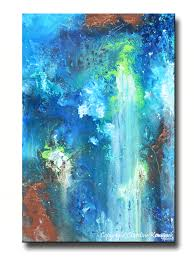 GICLEE PRINT Art Abstract Painting Modern Blue Canvas Prints Urban Teal  Brown City Sizes to 60