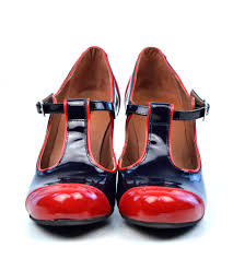 modshoes dustys midnight blue and red patent leather