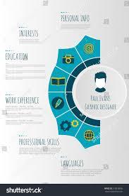 Flat Resume Infographics Design Cv Set Stock Vector 519518005