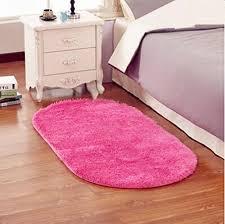 sothread anti skid fluffy gy area rug pad oval carpet mats bedroom decor 30x50cm