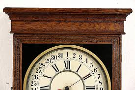 oak 1890 s antique calendar clock signed sessions on art deco wall clock antique with beautiful art deco wall clocks p41ministry