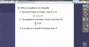 write equations and inequalities section 1 4