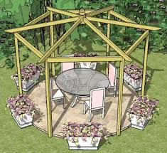 Stunning garden pergola ideas roof Patio Copyright Image Beautiful Pitched Roof Hexagonal Pergola Made From The Stepby Pergola Plans Pitched Roof Hexagonal Pergola