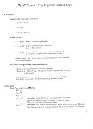 my ap physics b very important equation sheets