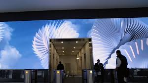 office lobby. Office-video-wall-surreal-lobby-reception-salesforce-san- Office Lobby