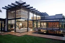 Architectures:Cool Asian Home Design Architecture Glass Wall Metal Fence  Green Grass Field Small Outdoor