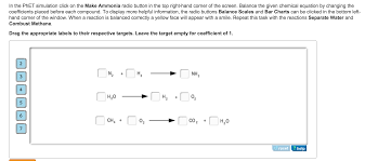 question in the phet simulation on the make ammonia radio on in the top right hand corner of the