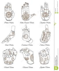 Hand Mudras Chart Hand Drawn Collection With Sacral Mudras On White Stock