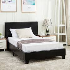 details about twin size faux leather platform bed frame slats upholstered headboard bedroom