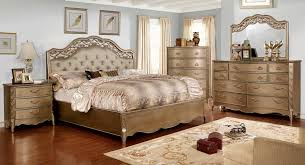 cm7442 5pc 5 pc capella collection brushed gold finish wood with upholstered tufted headboard queen bedroom set