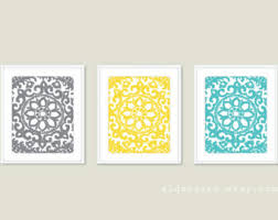art deco flower ornament wall art print set unique home decor triptych set of on yellow blue and gray wall art with modern flower art prints flower wall art print set spring