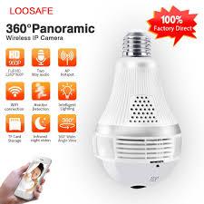 Loosafe 960p 360 Security Wifi Camera Lamp Panoramic Camera Wifi Ip
