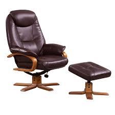 debenhams bonded leather bjorn recliner chair and stool