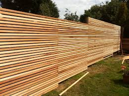 exterior: Awesome Wood Material Creating Unique Fence Ideas Designed With  Stripes Style Covering Spacious And