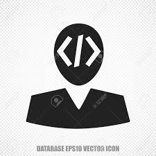 プログラミングをテーマに普遍的なベクトルのアイコン 黒プログラマモダンなフラット