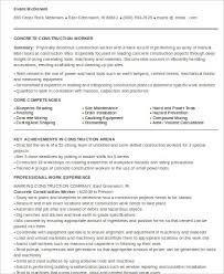 Example Of Construction Resume Sample Construction Worker Resume 9 Examples In Word Pdf