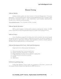 Sample Resume For Qa Tester Resume Samples Manual Tester Resume