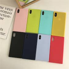 Square <b>Candy Color Silicone TPU</b> Case For iPhone X Cover Plain ...