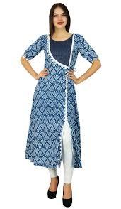 Kurta Top Designs Details About Bimba Womens Designer Tunic A Line Blue Kurta