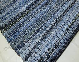 ahoc small 60x110cm denim chindi rug handmade area rag recycled jeans fabric cotton floor mat hand