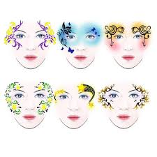 7styles set reusable face painting art stencil template festival makeup new