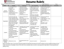 resume cover letter eccles school s business career services rubric resume rubric
