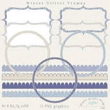 Winter Glitter Digital Frames Borders Clip Art Fancy Frames Circle
