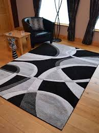 silver black grey modern style soft thick runner rug small extra large mat