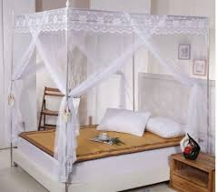 White Lace 4 Corners Post Bed Canopy Mosquito Net For Twin Queen Cal King Size (No Bracket)-in Mosquito Net from Home & Garden on Aliexpress.com | ...