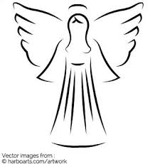 Download : Christmas Angel artistic outline - Vector Graphic
