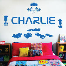 personalised name children wall art sticker racing driver formula 1 cars sport