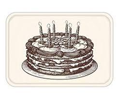 Amazoncom Ustcyla Doormat Happy Birthday Cake With Burning
