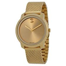 movado bold 36mm watches jomashop movado bold gold dial gold ion plated mesh watch