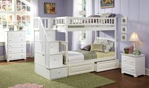 Atlantic Furniture - Columbia Staircase Bunk Bed Twin Over Twin with 2  Raised Panel Bed Drawers in a White Finish