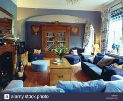 Pale Blue Living Room Pale Blue And Dark Blue Sofas And Pine Chest In Pale Blue Living