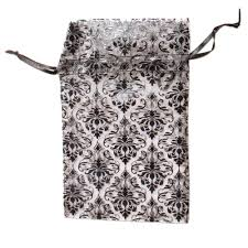 organza drawstring gift bags 5x4 inches 144 piece bulk pack black and white damask pattern storage packaging materials jewelry making supplies