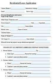 Rent Lease Application Form Free Rental Application Form Standard Lease California