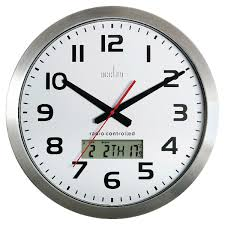 acctim meridian rc wall clock aluminium 74447