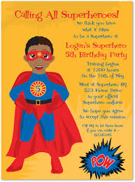 superheroes birthday party invitations african american super hero invitations myexpression 22840