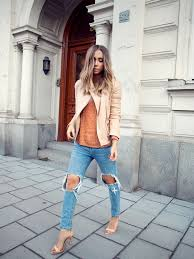 street style march 2016 lisa olsson is wearing ripped jeans from chicy terracotta coloured