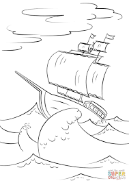 Sailing Ship On Huge Ocean Waves Coloring Page Pages 3 Futuramame