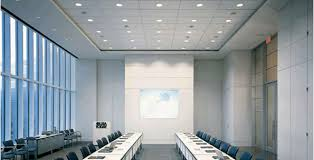 white false ceiling tiles for office with lights